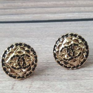 Chanel CC Black Gold Button Earrings